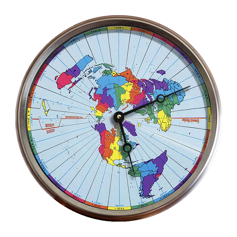 Greenwich Mean – Time Zones – Flat Earth Map 24 Hour Clock – Flat